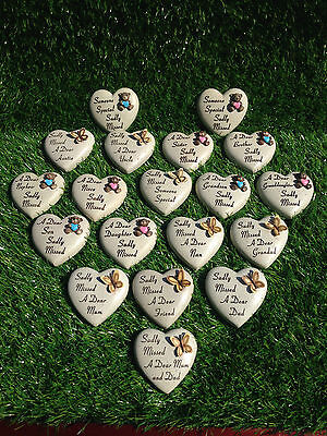 Graveside Memorial Remembrance Grave Gift-Small Heart stone with Butterfly