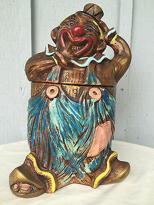 Vintage California Originals Pottery Cookie Jar Hobo Clown Large Cal Style