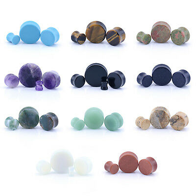 Semi Precious STONE Ear Stretcher Tunnel Saddle Plug Taper