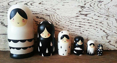 6 Piece Minimalist, Hand Painted, Hand Carved, Russian Nesting Doll Set