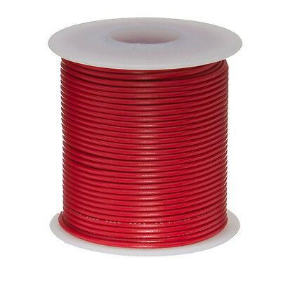 "26 AWG Gauge Solid Hook Up Wire Red 100 ft 0.0190"" UL1007 300 Volts"