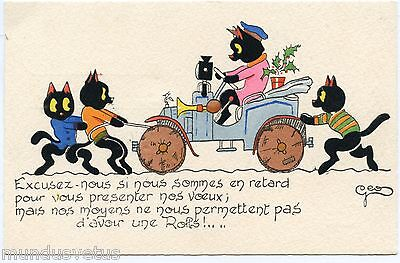 ARTIST SIGNED. GéO. CHATS NOIRS BLACK CATS PANNE D'AUTOMOBILE.