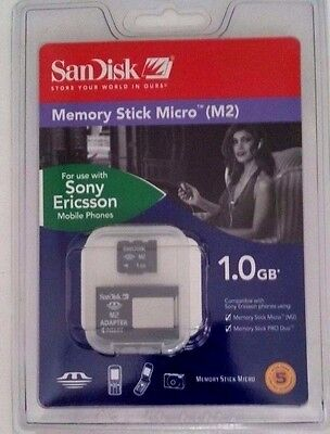 NEW SANDISK 1GB MICRO MEMORY STICK M2 CARD PRO DUO SONY ERICSSON - OEM - Sealed