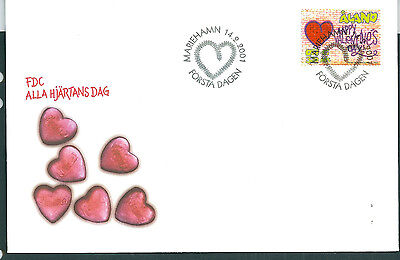Aland 2001 St Valentine's Day on unaddressed post office first day cover
