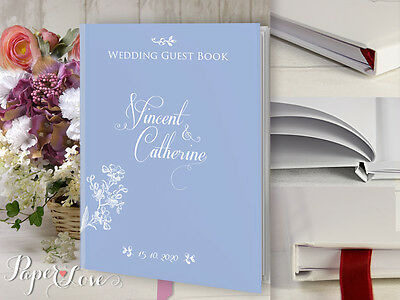 Wedding Guest Book Personalized Custom Design Blue White Flowers Multiple Colors