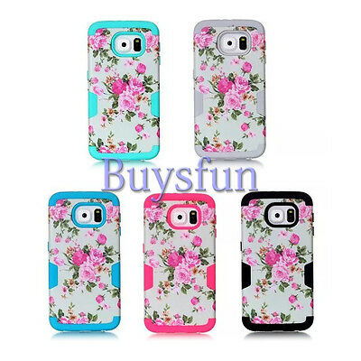 Flower Pattern Shock Proof Rugged Light Blue Cover Case For Samsung Galaxy S6