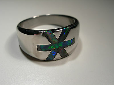 Boulder Opal Inlay Stainless Steel Ring (Lot 2205)