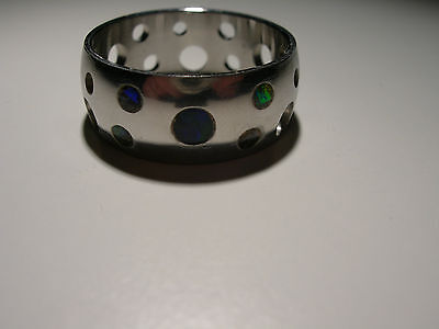 5 small Boulder Opals in Stainless Steel Ring (Lot 2206)