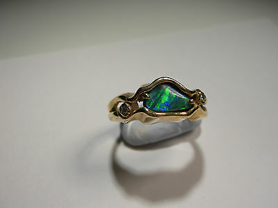 Boulder Opal with 2 Diamonds in 18ct Gold Ring (2236)
