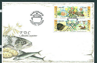 Aland 2002 Traditional Food set on unaddressed post office first day cover