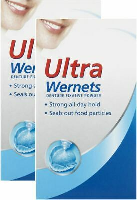 Ultra Wernets Denture Fixative Powder | Strong| Seals Out Food 40 g - 2 Pack