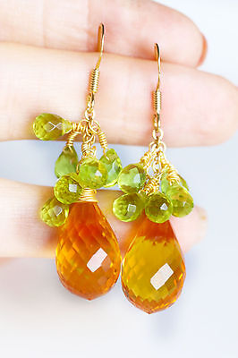 Orecchini AAA quarzo citrino verde peridoto naturale citrine peridot earrings