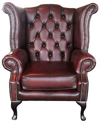 Vintage Style Chesterfield Genuine Leahter Queen Anne Armchair Antique Oxblood