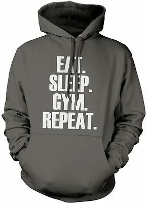 Eat Sleep Gym Repeat Unisex Hoody Work Out Fitness Various Colours Hoodie
