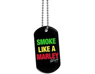 NEW Official Rock Reggae Metal Dog-Tag Necklace Pendant Smoke Like a BOB MARLEY