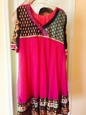 Anarkali Indian Outfit, XL (US Size 16-18), Dark Pink/Fuschia & Copper Black