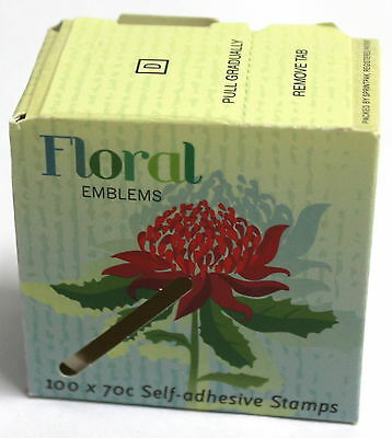 NO STAMPS AUSTRALIA POST TOURIST FLORAL EMBLEMS 100 x 70c SEALED EMPTY BOX!!