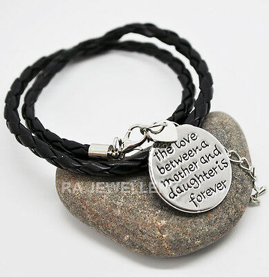 Leather Bracelet Wristband 'Love Between A Mother & Daughter', Ladies Girls Gift