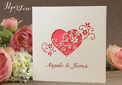 50 Personalised Intricate Laser Cut Heart Flower Wedding Invitations Free P&P