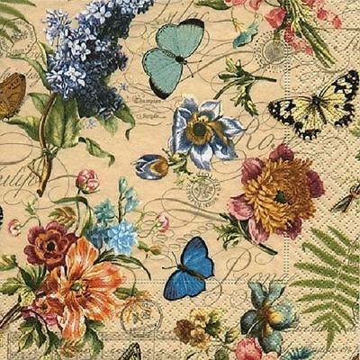 4 x Paper Napkins - Vintage Summer - Ideal for Decoupage / Decopatch
