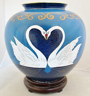 """Unusual Chinese Blue Cloisonne Vase with Pair of Swans Heart & Wood Stand  (10"""")"""