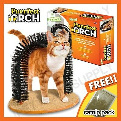New Cat Kitty Arch Cat Groomer Scratcher Deluxe Purrfect Self-groomer Home AU