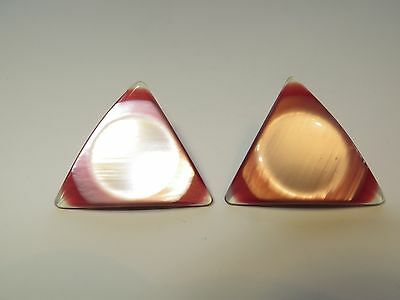 Rare 1960s Vintage Big Triangle 'MOD' Moonglow Red Ladies Clipped Earrings-4cm