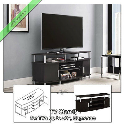 "TV Stands for Flat Screens 50"" Carson TV Stand Media Console Table, Espresso"