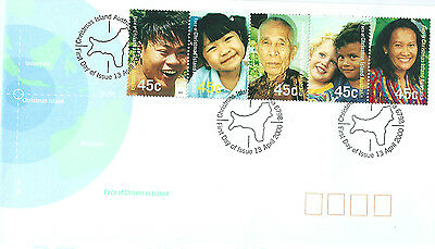Christmas Island 2000 Faces of Xmas Is strip on Australia Post first day cover