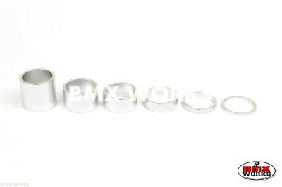 "BMX 1 1/8"" Silver Headset Spacer Set of 6 Pieces"