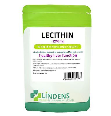 Lindens Soya Lecithin 1200mg 90 Capsules Rapid Release Softgels Soy Choline