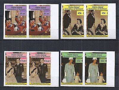 ST. VINCENT 1987 40th WEDDING OF QUEEN ELIZABETH PAAR PAIR IMPERF **
