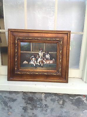 Framed Original Hand Painted Oil of 7 Dogs