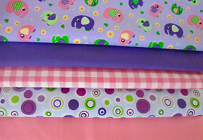 Fat Quarters Fabric Bundles Craft Sew Floral Gingham NELLY Elephant Purple Pink