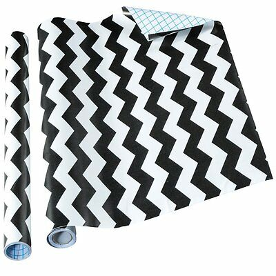 New!! Home it Decorative Contact Paper Self Adhesive Shelf Liner - Black Chevron