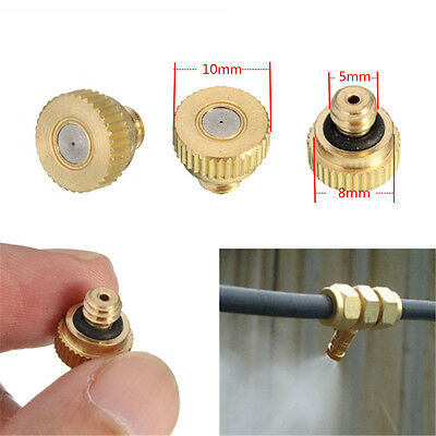 "Brass Misting Nozzles Garden Cooling System - 0.012"" 0.3mm Orifice 10/24 Threads"