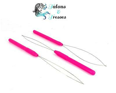 1/3/10 Pink Hair Extensions Loop Threader for Micro Rings, Tubes & Shrinkies