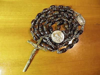 C1930's Antique  Brown Beads Notre Dame du Cap Rosary in Brass-St Anthony Medal