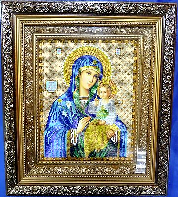 Picture EMBROIDERED with BEADS, Holy mother of God unfading flower handmade