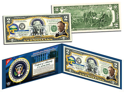 WILLIAM HOWARD TAFT * 27th U.S. President * Colorized $2 Bill US Legal Tender