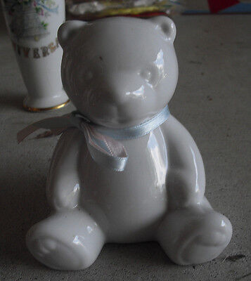 "Cute Vintage 1970s Porcelain Sitting Teddy Bear Bank 4"" Tall"
