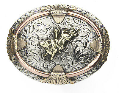 ANDWEST - Handmade Buckle Bull Rider Motif Copper Rope and Gold Feathers - 519