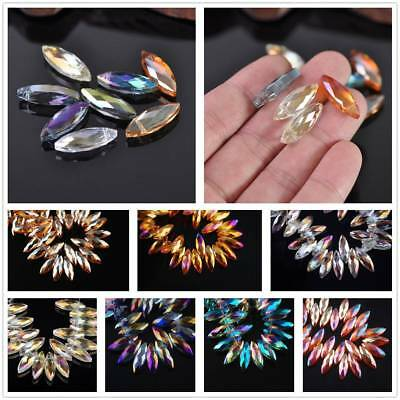 10pcs 22mm Faceted Marquis Briolettes Crystal Glass Craft Spacer Loose Beads