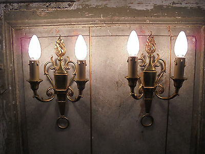French  wall light a pair of superb antique / vintage c.1940 bronze patina