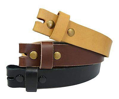 LS-TAN Snap On Casual Natural Full grain Leather Belt Strap Width 34MM
