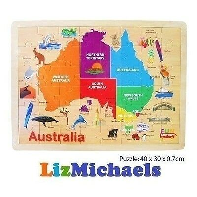 Fun Factory Wooden Jigsaw Puzzle Map Of Australia Kids Board Game Educational