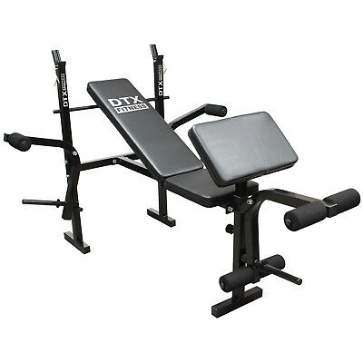 DTX Fitness Weights Bench Multi Gym Dumbell Workout Leg Bar/Preacher Curl Arms