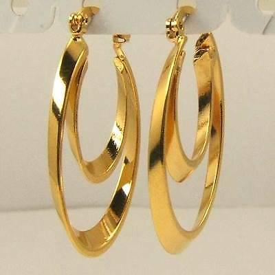 """3pair Wholesale 1.33"""" REAL ENTICING 18K YELLOW GOLD GP 2 RING HOOP EARRING SOLID"""