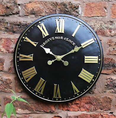 Outdoor indoor black Garden Wall Clock  Hand Painted church clock 30cm 1063