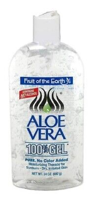 2 PACK Fruit Of The Earth Aloe Vera 100% Gel, Crystal Clear 24oz 071661120246DT